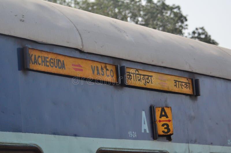 Train route Kacheguda Vasco in India, Goa. Route displayed on the train wagon in Goa India. indian railways and british heritage stock image