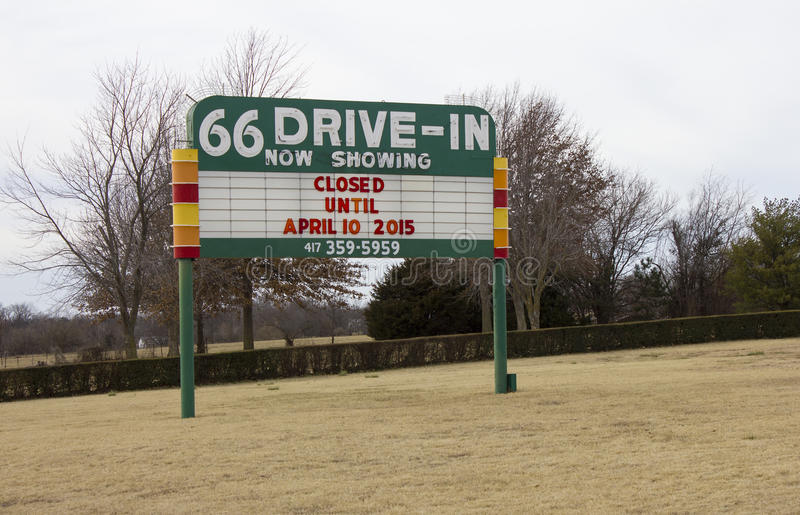 Route 66 Drive-In Theater Marquee Sign stock photos