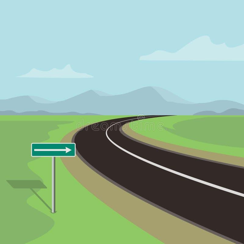 Route droite de courbe et panneau routier tourne-à-droite illustration libre de droits
