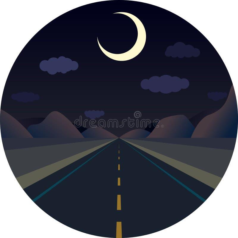 Route droite de nuit en avant dans les montagnes illustration stock