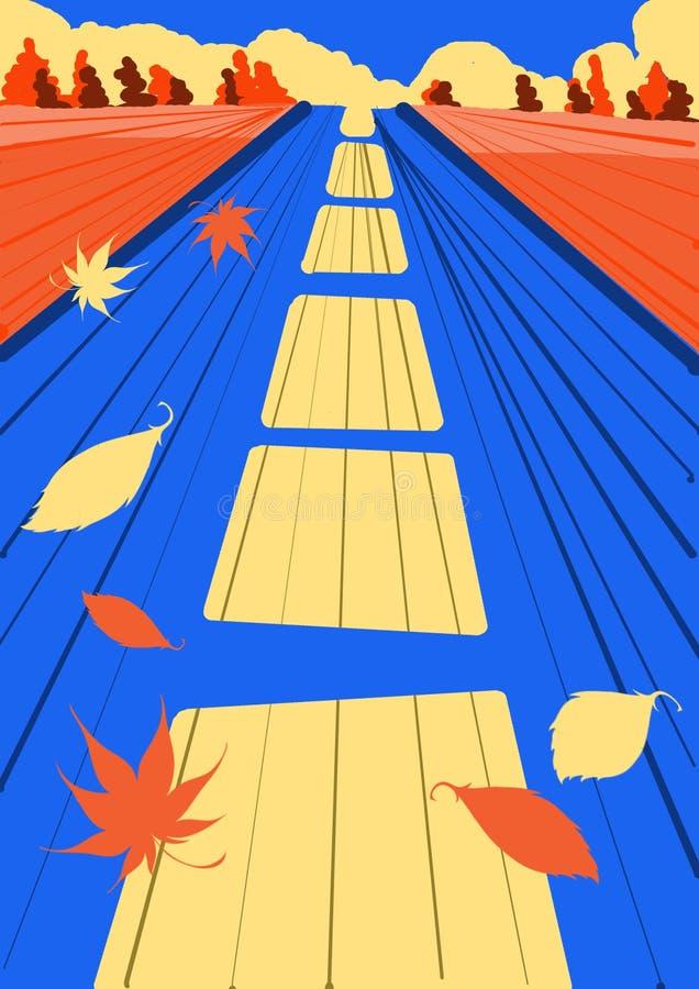 Route en avant Automne La route, feuilles volantes, couleurs lumineuses joie illustration stock