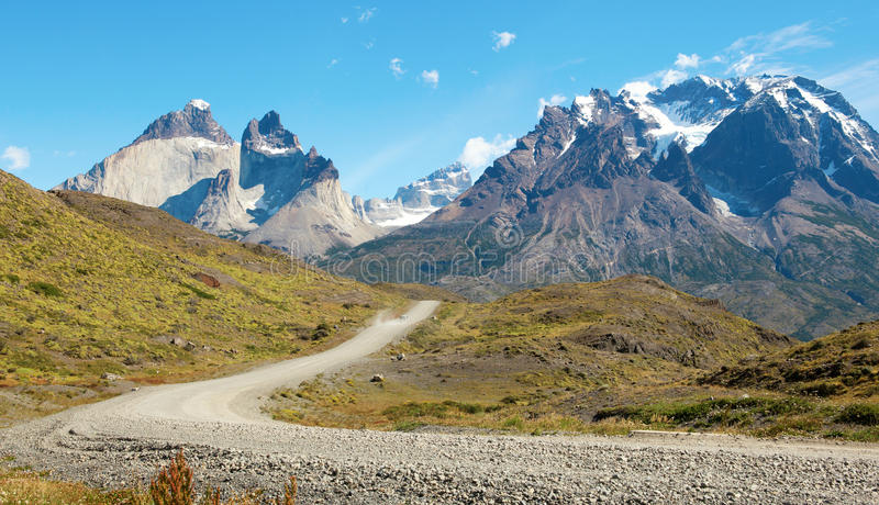 Route en stationnement national de Torres del Paine photographie stock libre de droits