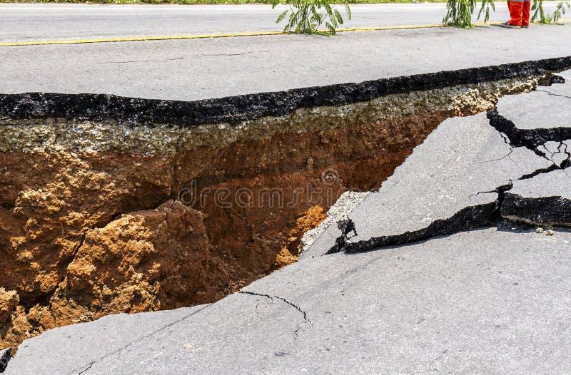 Route endommagée photo stock