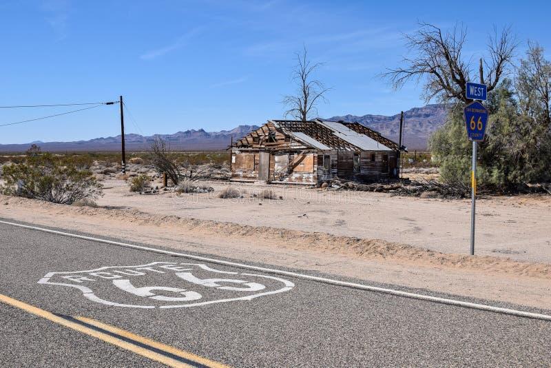 Route 66, Essex, casa abandonada fotografia de stock