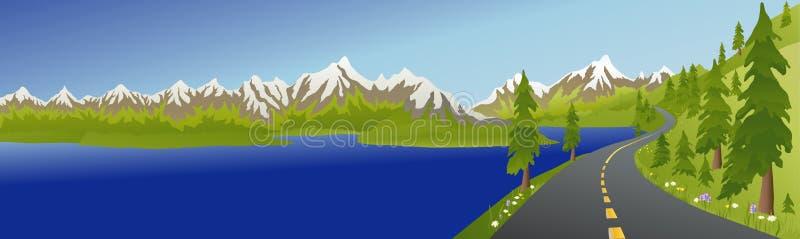Route et lac de montagne d'été illustration libre de droits