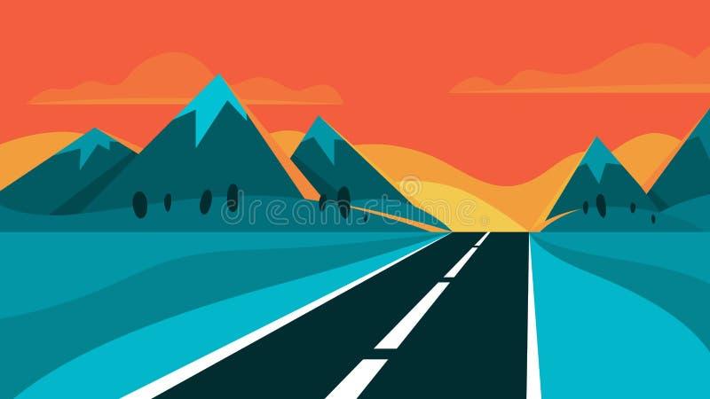 Route et paysage de égaliser Montagne sur le fond illustration stock
