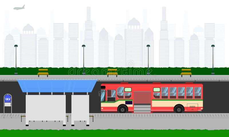 Route extérieure dans l'arrêt d'autobus rouge de ville à l'illustration horizontale eps10 de vecteur de signe de lampe de poteau  illustration de vecteur