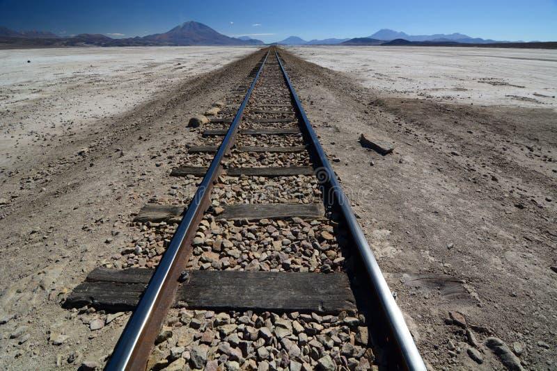 Route ferroviaire Ferrocarril De Antofagasta la Bolivie Sel de Chiguana plat Département de Potosi bolivia images stock