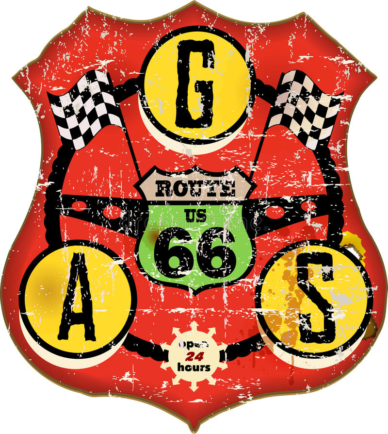 route 66 gas station sign stock illustration
