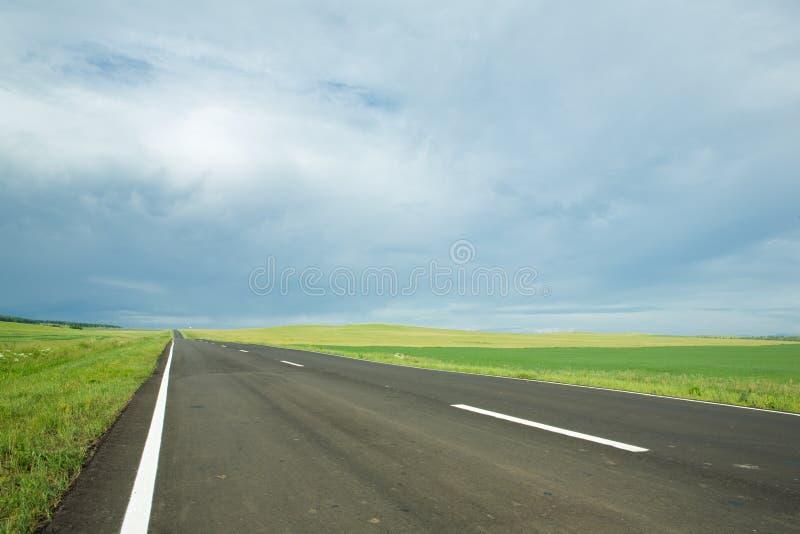 Route goudronnée dans le domaine photo stock