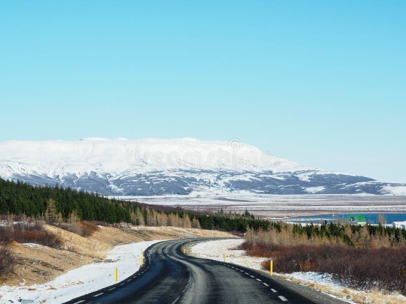 Route goudronnée incurvée d'hiver avec des arbres et montagne du côté o photo libre de droits