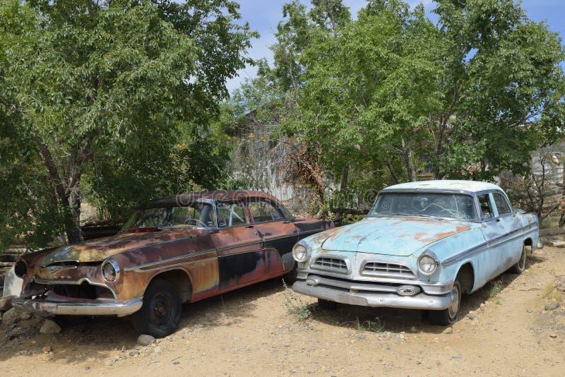 Route 66, Hackberry, AZ, USA, Autos des alten Hasen lizenzfreies stockfoto
