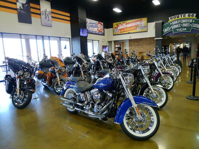Route 66 Harley Davidson em Tulsa, Oklahoma, bicicletas novas imagem de stock royalty free