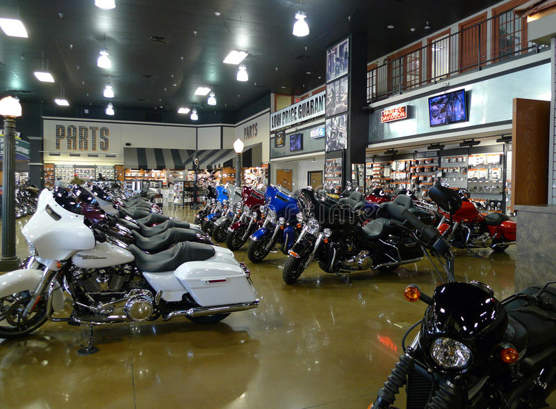 Route 66 Harley Davidson in Tulsa, Oklahoma, Row of new bikes royalty free stock image