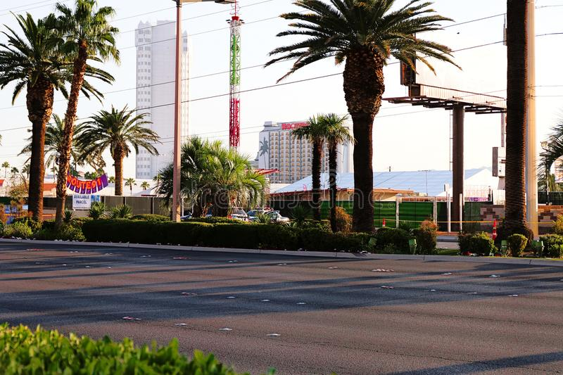 The Route 91 HARVEST Live venue after the shoot incident. LAS VEGAS - OCT 07 ,2017 : The Route 91 HARVEST Live venue after the shoot incident on the Las Vegas stock image