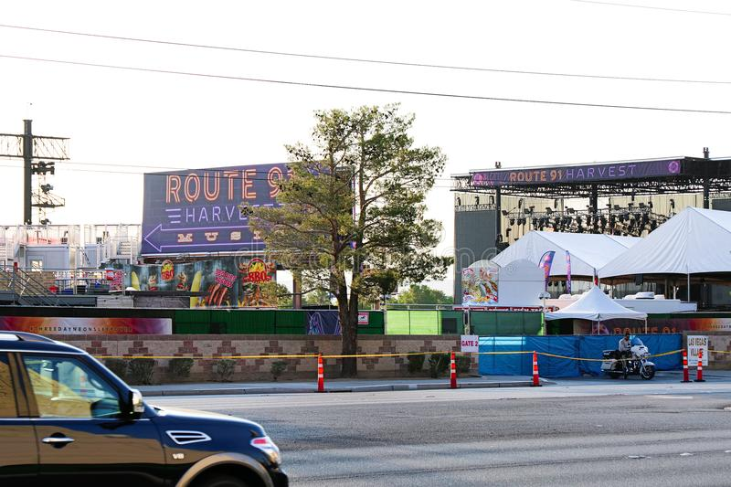 The Route 91 HARVEST Live venue after the shoot incident. LAS VEGAS - OCT 07 ,2017 : The Route 91 HARVEST Live venue after the shoot incident on the Las Vegas stock images