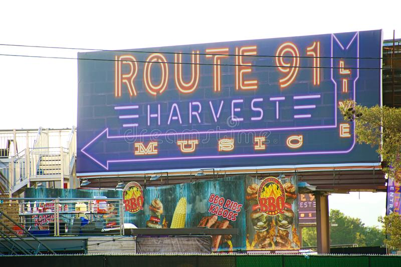 The Route 91 HARVEST Live venue after the shoot incident. LAS VEGAS - OCT 07 ,2017 : The Route 91 HARVEST Live venue after the shoot incident on the Las Vegas royalty free stock image
