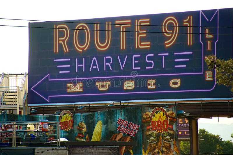 The Route 91 HARVEST Live venue after the shoot incident. LAS VEGAS - OCT 07 ,2017 : The Route 91 HARVEST Live venue after the shoot incident on the Las Vegas stock photos