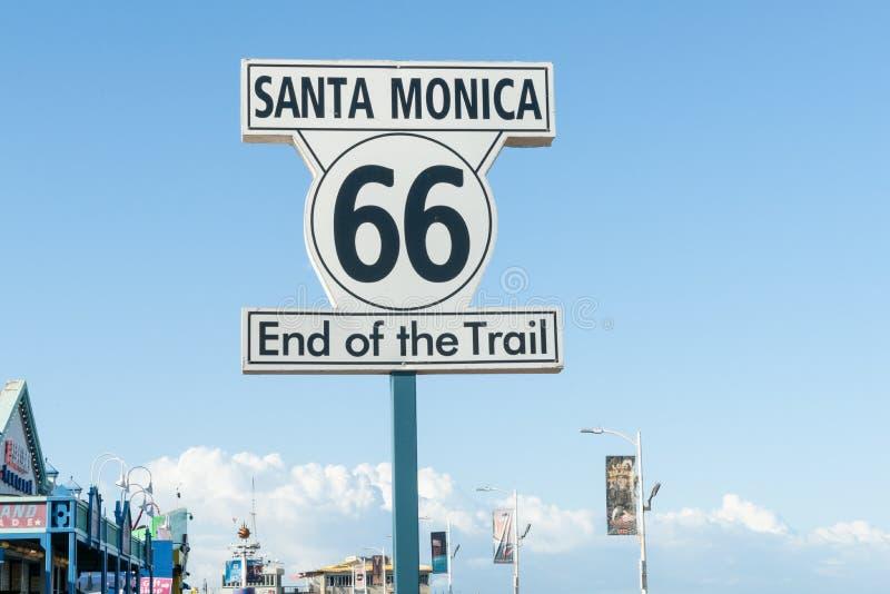 Route 66 -het westeneind, Santa Monica Pier, Los Angeles, Californië, de V.S. royalty-vrije stock foto