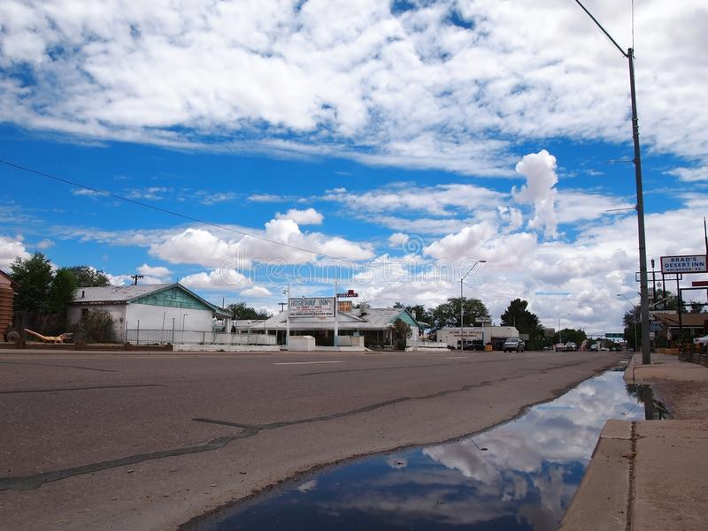 Route 66 Holbrook Arizona Old Hotels stock afbeelding