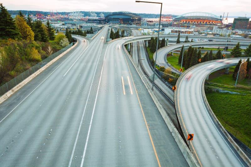 Route i90 à Seattle pendant le temps de jour, Washington photo stock