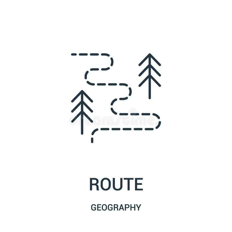 route icon vector from geography collection. Thin line route outline icon vector illustration royalty free illustration