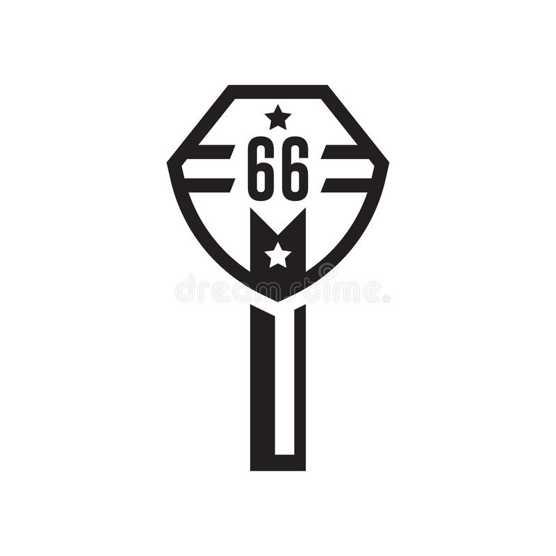 Route 66 icon vector sign and symbol isolated on white background, Route 66 logo concept royalty free illustration