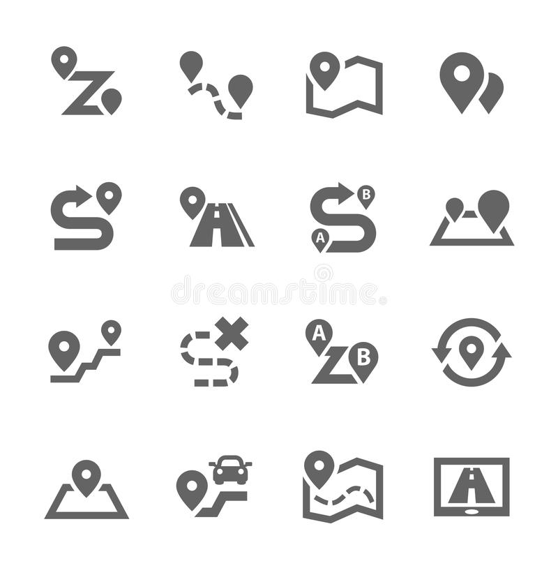 Route Icons. Simple Set of Route Related Vector Icons for Your Design vector illustration