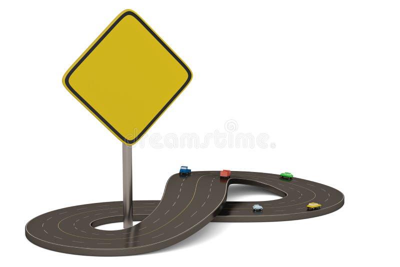 Route illimitée de forme de symbole d'isolement sur le fond blanc illustration 3D illustration libre de droits