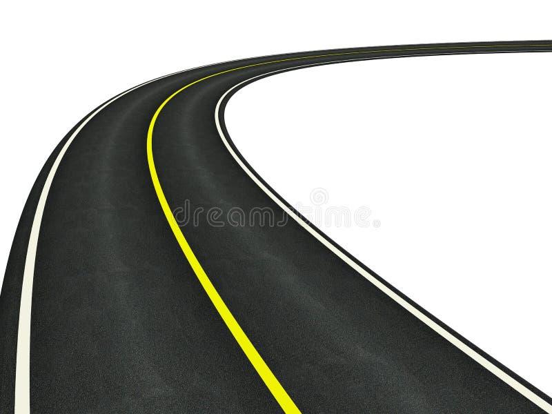 route incurvée par asphalte illustration stock