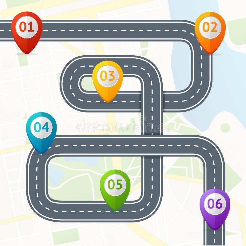 Route Infographic avec l'emplacement Mark Elements Vecteur illustration de vecteur