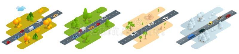 Route isométrique de quatre images avec des voitures dans l'automne, l'été, une route dans le désert et la route en hiver illustration libre de droits