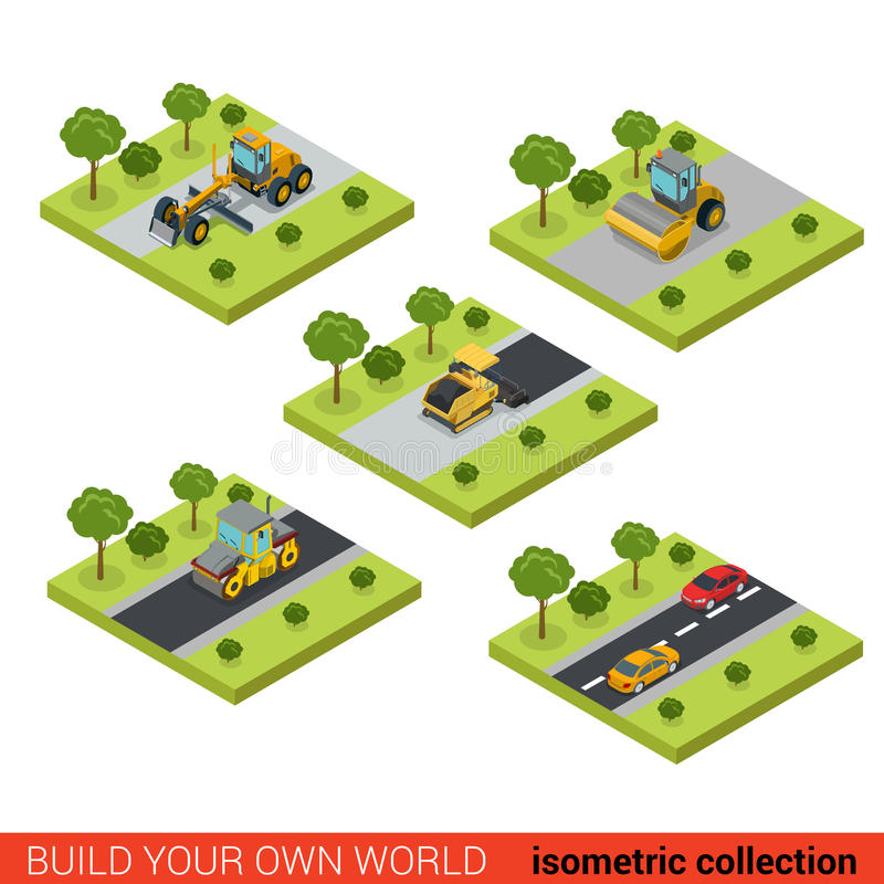 Route isométrique plate de route de vecteur faisant la construction d'asphalte illustration stock