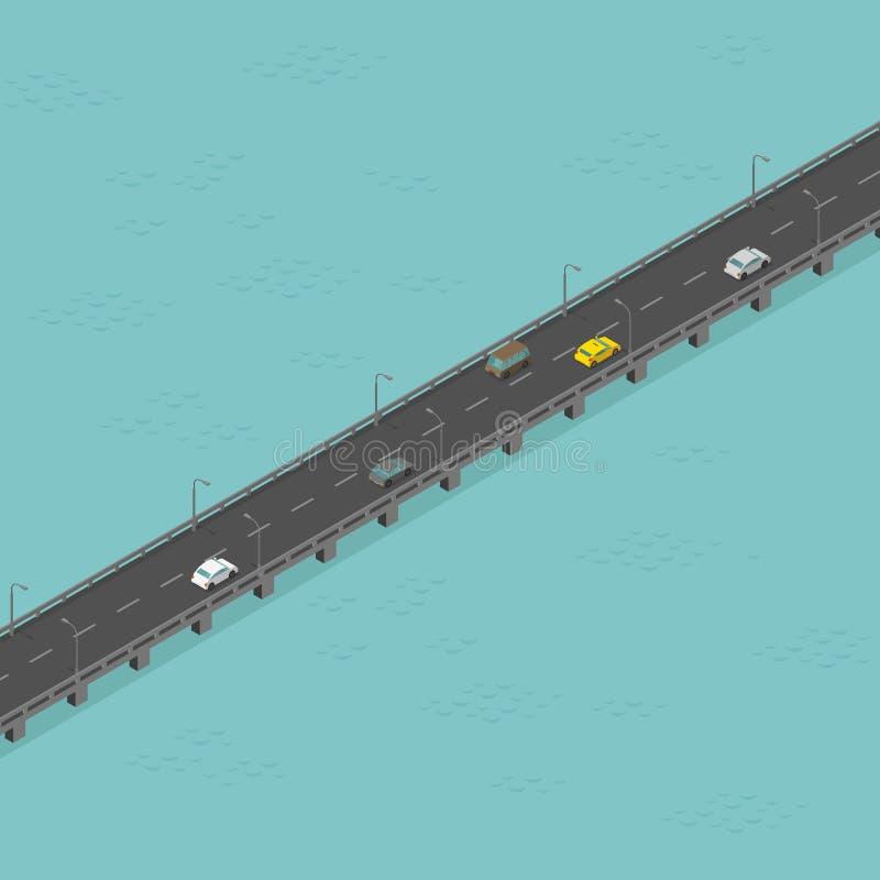 Route isom?trique de pont ? faible trafic Longue route ?lev?e Pont au-dessus de la rivi?re Illustration de vecteur illustration libre de droits