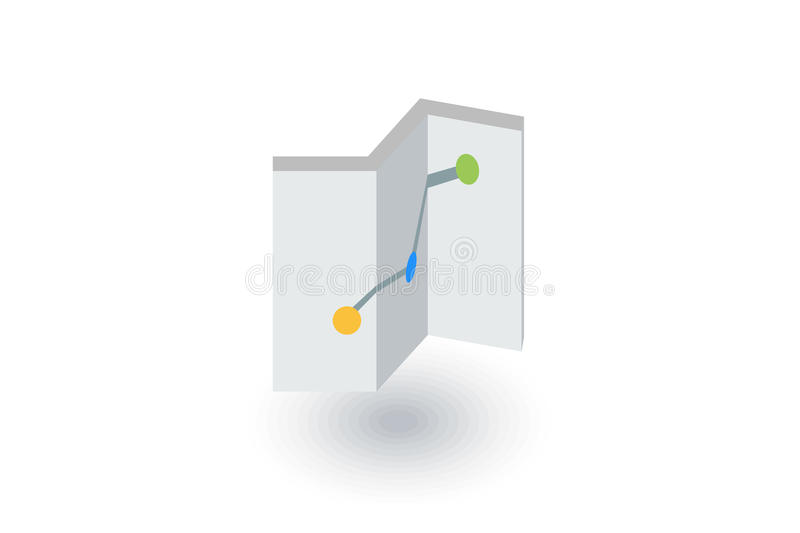 Route, itinerary map isometric flat icon. 3d vector. Colorful illustration. Pictogram isolated on white background royalty free illustration