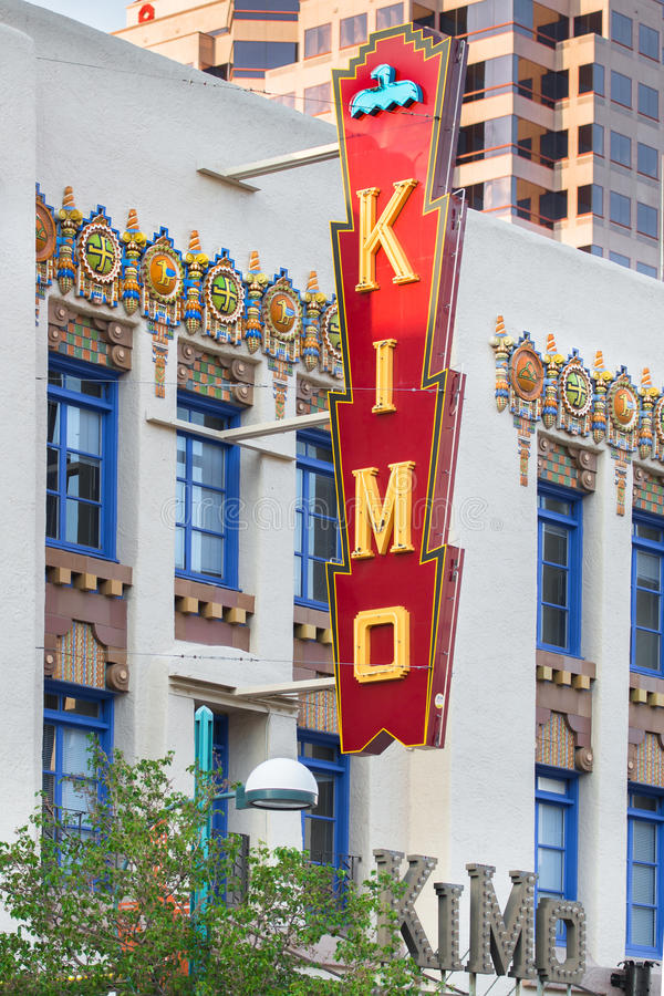 Route 66: Kimo Theatre, Albuquerque, Nanometer stockfotos