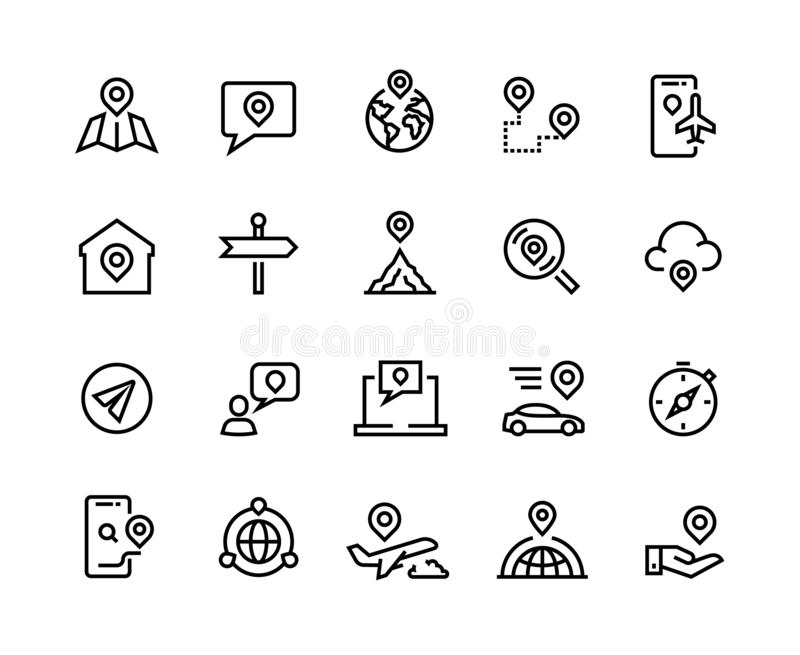 Route line icons. GPS navigation and tracking system, app UI graphic symbols for find device, home and work location stock illustration