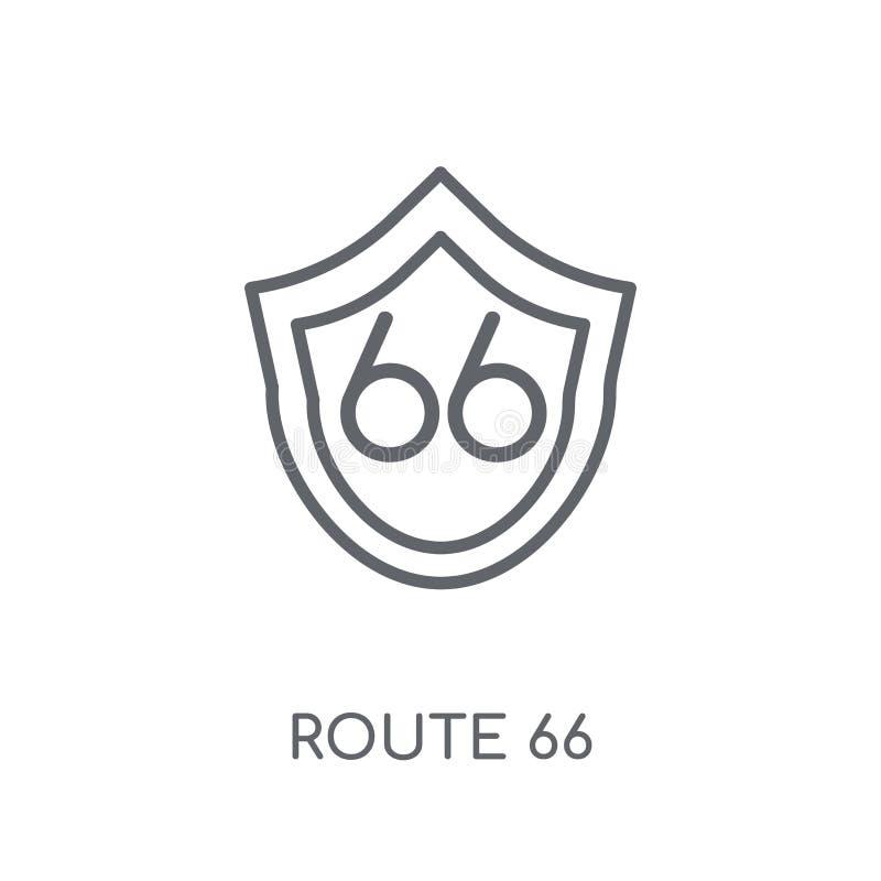 Route 66 linjär symbol Modernt begrepp för översiktsRoute 66 logo på wh royaltyfri illustrationer