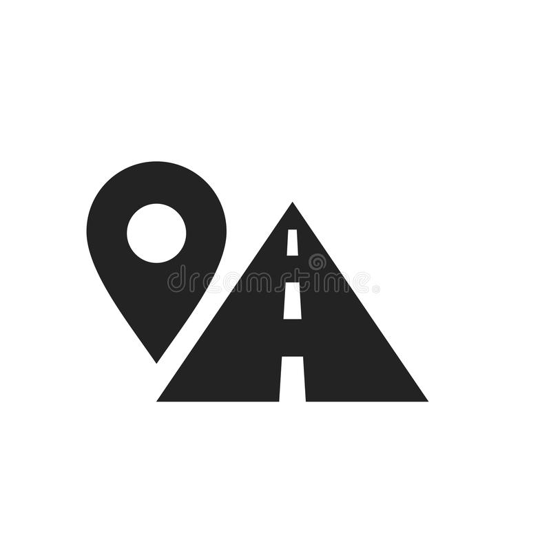 Route location symbol, map pin sign and road, black icon. Vector illustration isolated on white background stock illustration