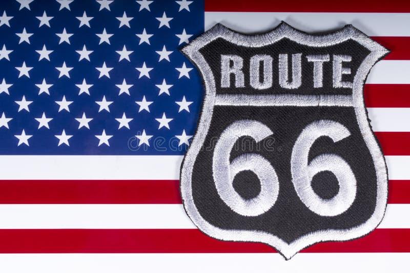 Route 66 logo i usa flaga obrazy stock