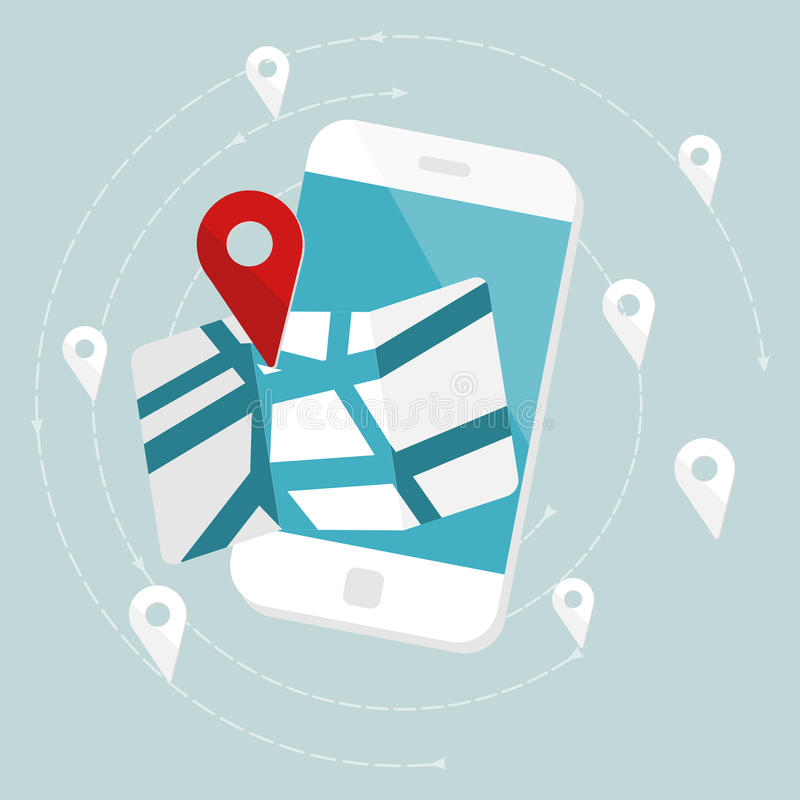Route map. Concept. Flat design web icons royalty free illustration