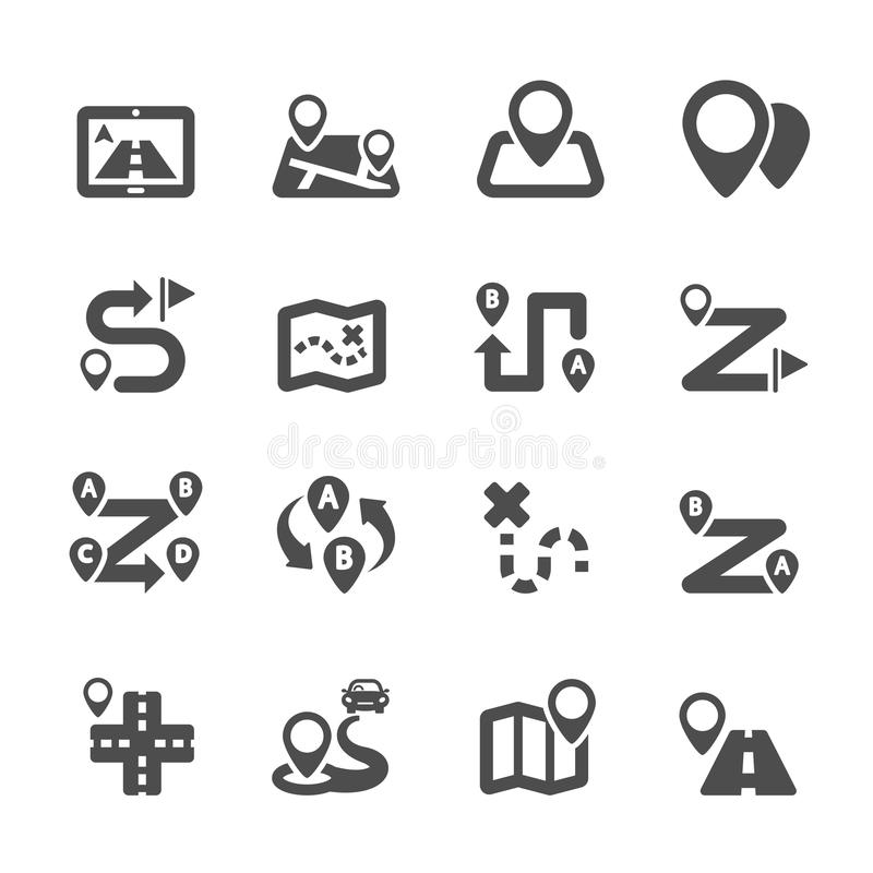 Route map icon set, vector eps10 vector illustration