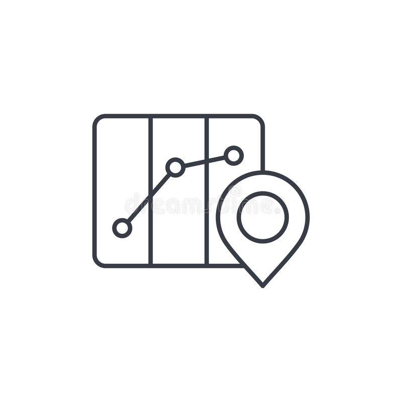 Route marker, itinerary map and pin thin line icon. Linear vector symbol. Route marker, itinerary map and pin thin line icon. Linear vector illustration royalty free illustration
