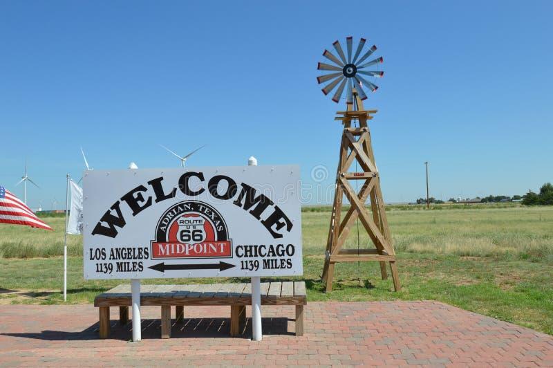 Route 66 -Mittelpunkt lizenzfreies stockfoto