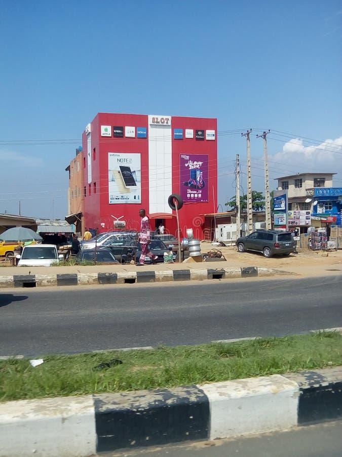 Route mobile de Lagos Nigéria de station photos stock