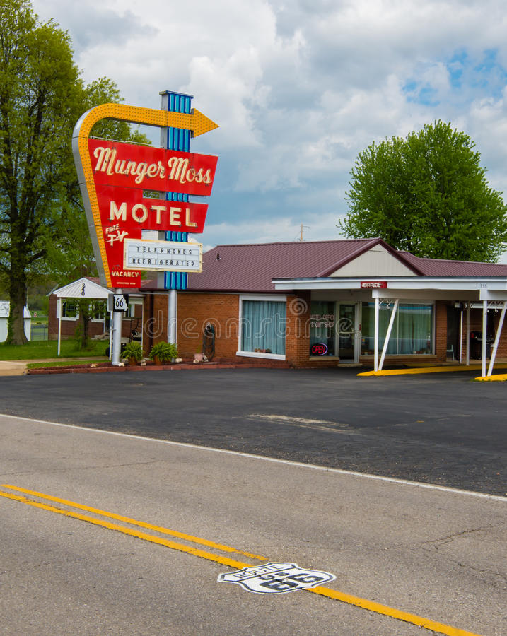 Route 66 : Munger Moss Motel, Liban, MOIS photographie stock