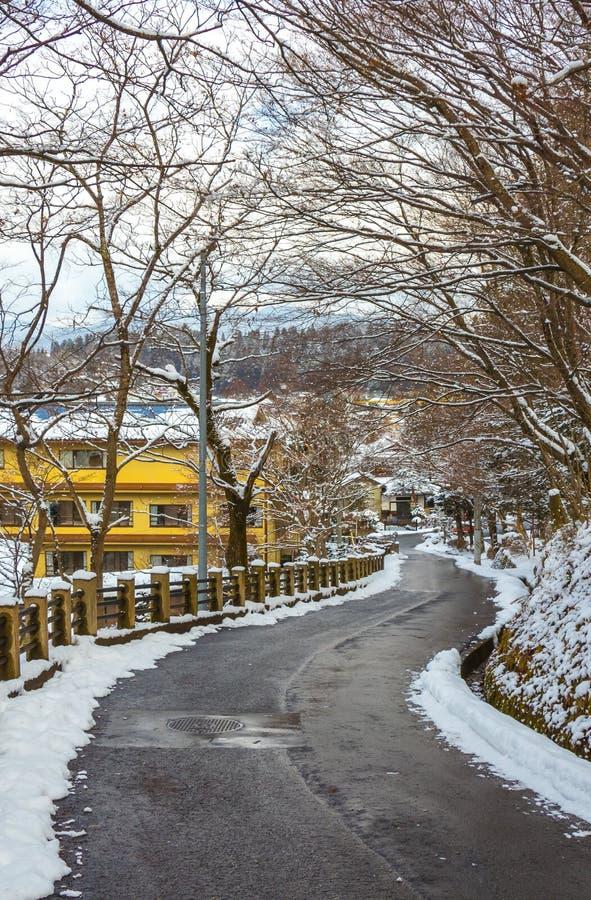 Route, neige, arbre, photo libre de droits