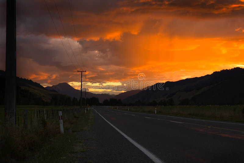 Route orageuse images libres de droits