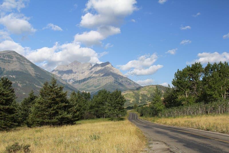 Route par des collines de Rocky Mountain - lacs Waterton nationaux photos libres de droits