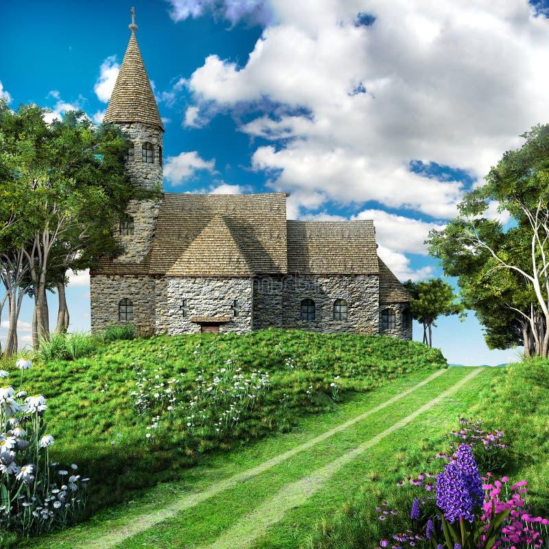 Route par l'église illustration de vecteur